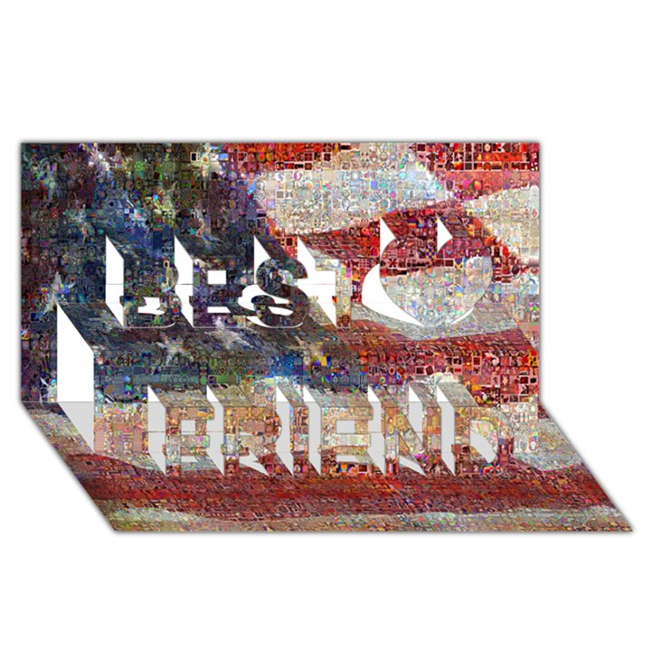 Grunge United State Of Art Flag Best Friends 3D Greeting Card (8x4)