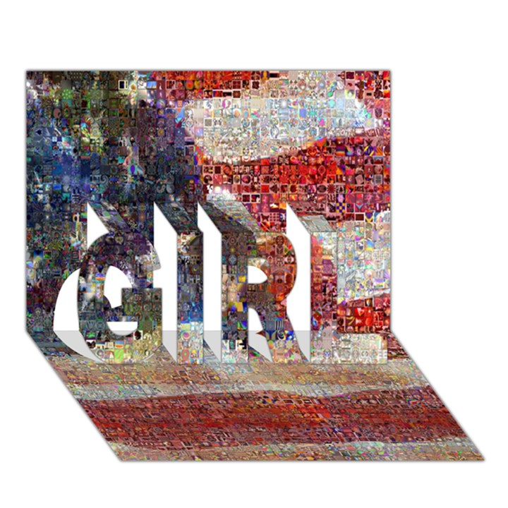 Grunge United State Of Art Flag GIRL 3D Greeting Card (7x5)