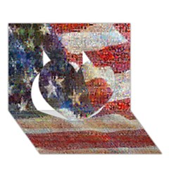 Grunge United State Of Art Flag Heart 3D Greeting Card (7x5)