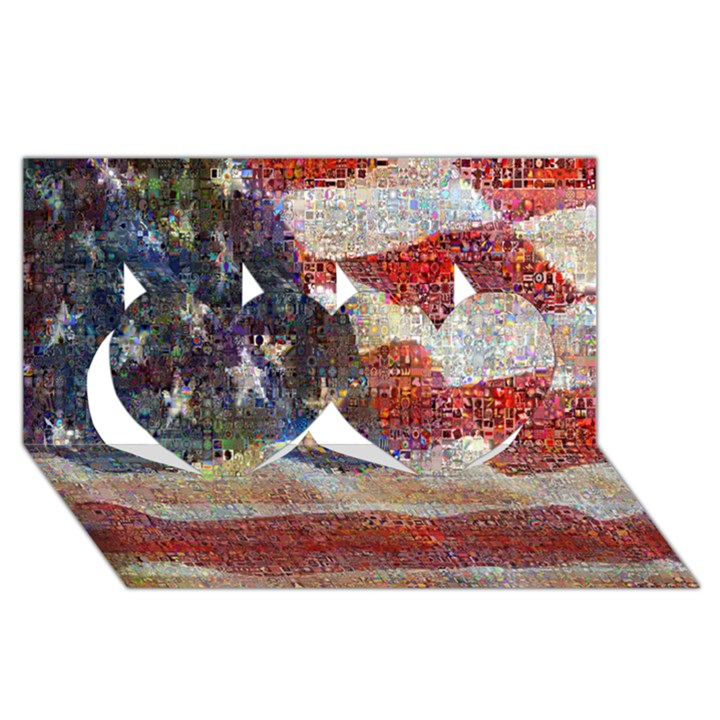 Grunge United State Of Art Flag Twin Hearts 3D Greeting Card (8x4)