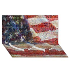 Grunge United State Of Art Flag Twin Heart Bottom 3D Greeting Card (8x4)