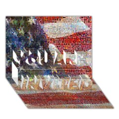 Grunge United State Of Art Flag YOU ARE INVITED 3D Greeting Card (7x5)