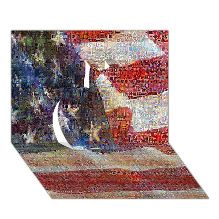 Grunge United State Of Art Flag Apple 3D Greeting Card (7x5)