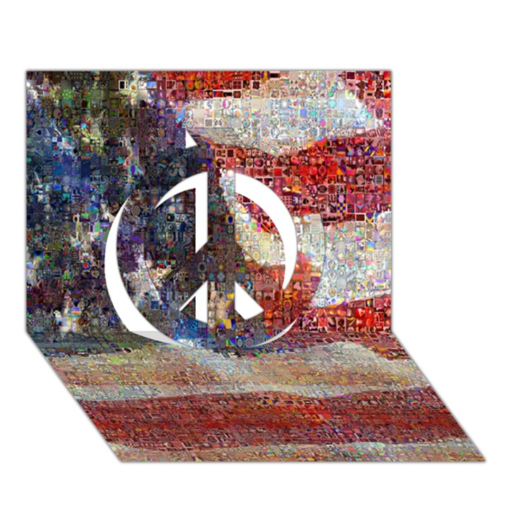 Grunge United State Of Art Flag Peace Sign 3D Greeting Card (7x5)