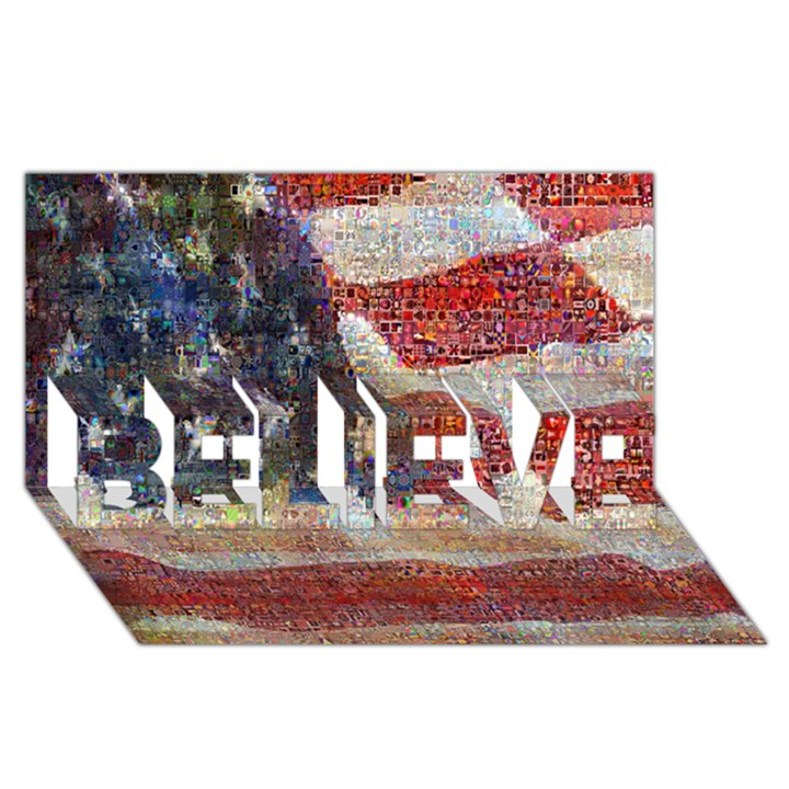 Grunge United State Of Art Flag BELIEVE 3D Greeting Card (8x4)