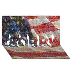 Grunge United State Of Art Flag SORRY 3D Greeting Card (8x4)