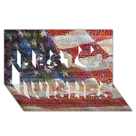 Grunge United State Of Art Flag Best Wish 3D Greeting Card (8x4)