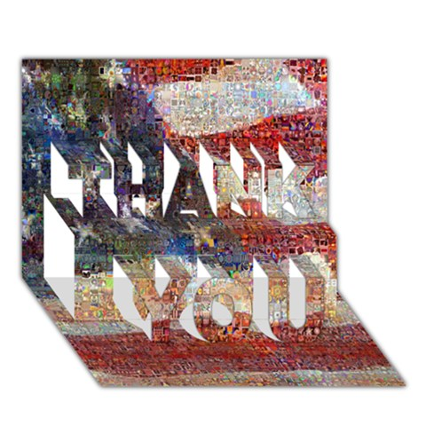 Grunge United State Of Art Flag THANK YOU 3D Greeting Card (7x5)