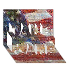 Grunge United State Of Art Flag TAKE CARE 3D Greeting Card (7x5)