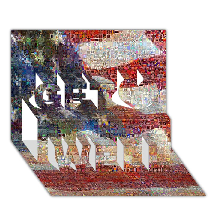 Grunge United State Of Art Flag Get Well 3D Greeting Card (7x5)