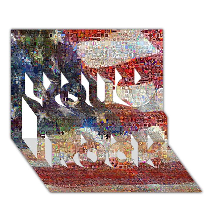 Grunge United State Of Art Flag You Rock 3D Greeting Card (7x5)