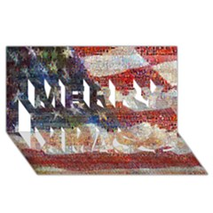 Grunge United State Of Art Flag Merry Xmas 3D Greeting Card (8x4)