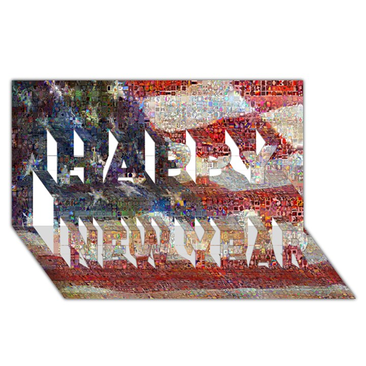 Grunge United State Of Art Flag Happy New Year 3D Greeting Card (8x4)