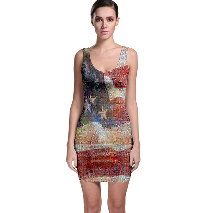 Grunge United State Of Art Flag Sleeveless Bodycon Dress