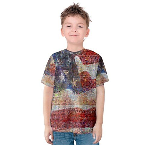 Grunge United State Of Art Flag Kids  Cotton Tee