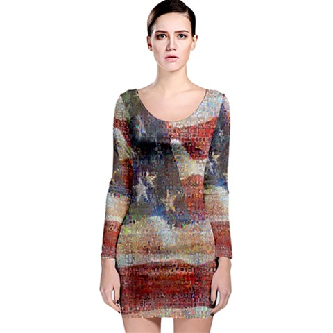 Grunge United State Of Art Flag Long Sleeve Bodycon Dress