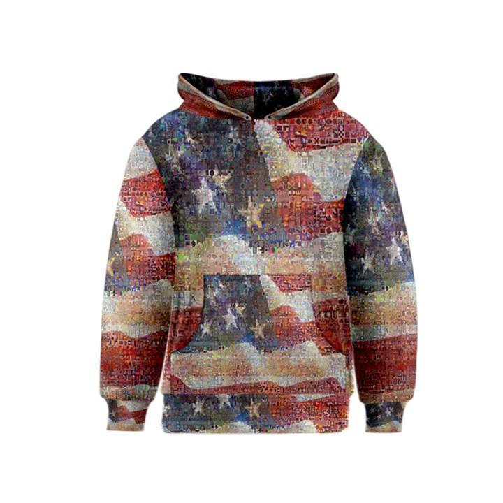 Grunge United State Of Art Flag Kids  Pullover Hoodie