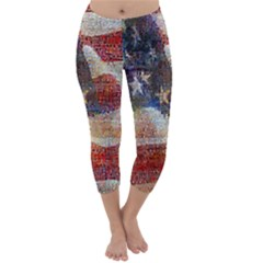 Grunge United State Of Art Flag Capri Winter Leggings