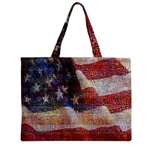 Grunge United State Of Art Flag Zipper Mini Tote Bag