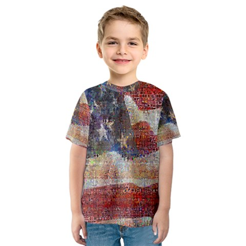 Grunge United State Of Art Flag Kids  Sport Mesh Tee