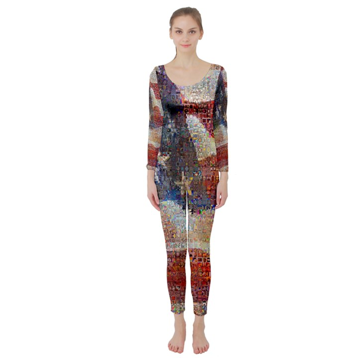 Grunge United State Of Art Flag Long Sleeve Catsuit
