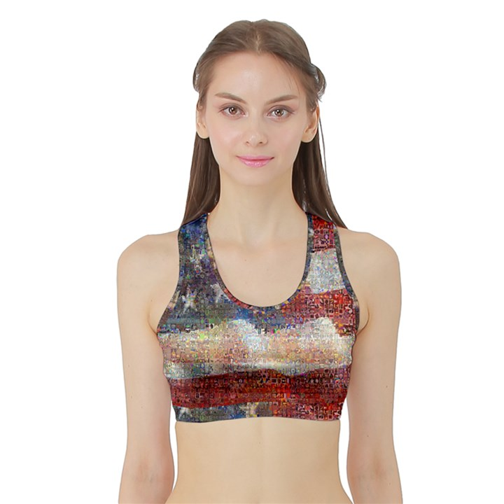 Grunge United State Of Art Flag Sports Bra with Border
