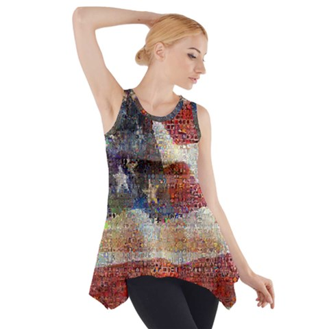 Grunge United State Of Art Flag Side Drop Tank Tunic