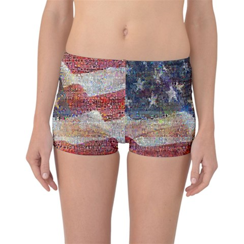Grunge United State Of Art Flag Reversible Boyleg Bikini Bottoms