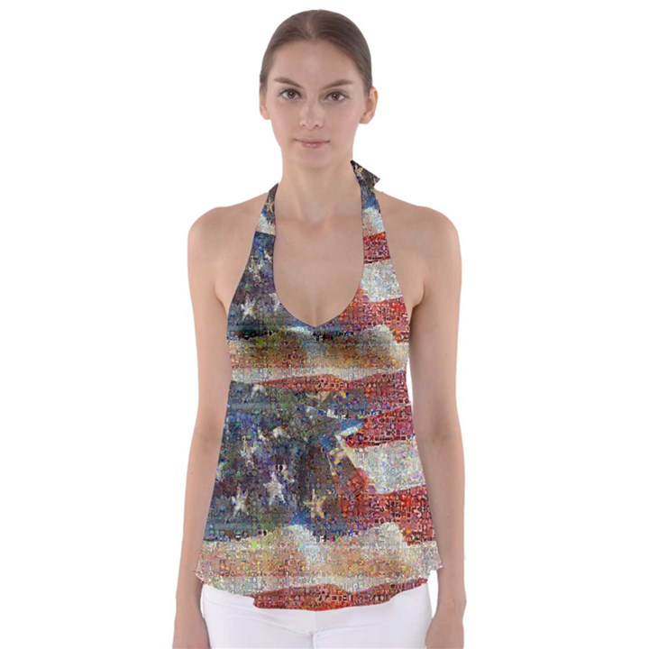 Grunge United State Of Art Flag Babydoll Tankini Top