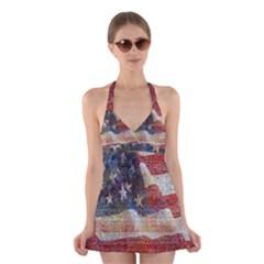 Grunge United State Of Art Flag Halter Swimsuit Dress