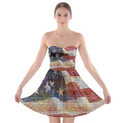 Grunge United State Of Art Flag Strapless Bra Top Dress
