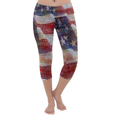Grunge United State Of Art Flag Capri Yoga Leggings