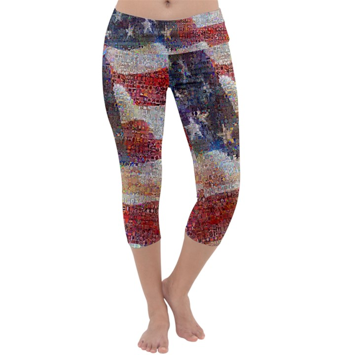 Grunge United State Of Art Flag Capri Yoga Leggings