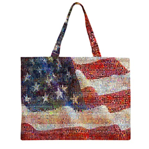 Grunge United State Of Art Flag Large Tote Bag