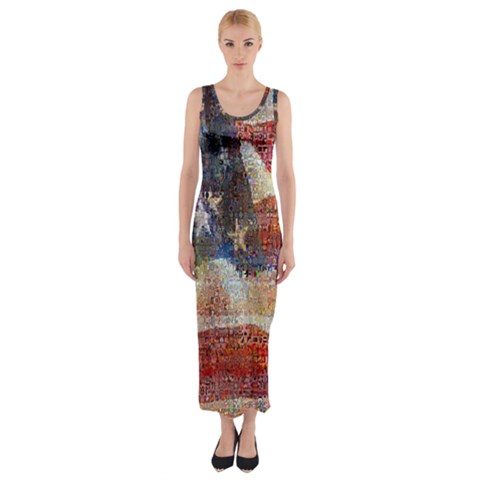 Grunge United State Of Art Flag Fitted Maxi Dress