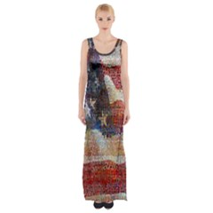 Grunge United State Of Art Flag Maxi Thigh Split Dress