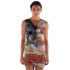 Grunge United State Of Art Flag Wrap Front Bodycon Dress