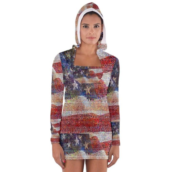 Grunge United State Of Art Flag Women s Long Sleeve Hooded T-shirt