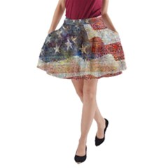 Grunge United State Of Art Flag A-Line Pocket Skirt
