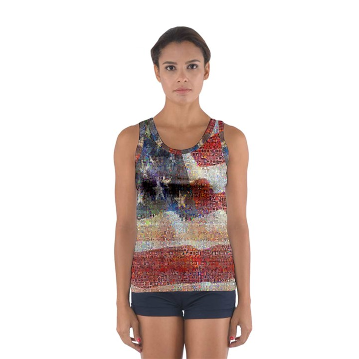 Grunge United State Of Art Flag Women s Sport Tank Top
