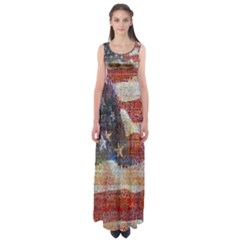Grunge United State Of Art Flag Empire Waist Maxi Dress