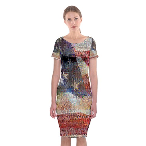 Grunge United State Of Art Flag Classic Short Sleeve Midi Dress