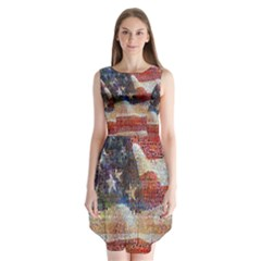 Grunge United State Of Art Flag Sleeveless Chiffon Dress