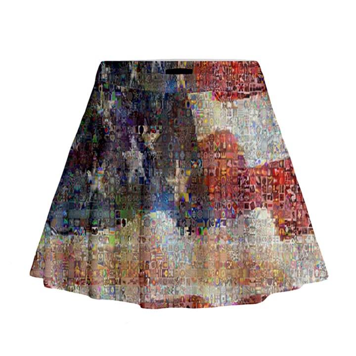 Grunge United State Of Art Flag Mini Flare Skirt