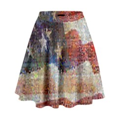 Grunge United State Of Art Flag High Waist Skirt