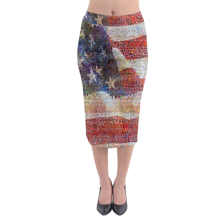 Grunge United State Of Art Flag Midi Pencil Skirt
