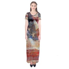Grunge United State Of Art Flag Short Sleeve Maxi Dress