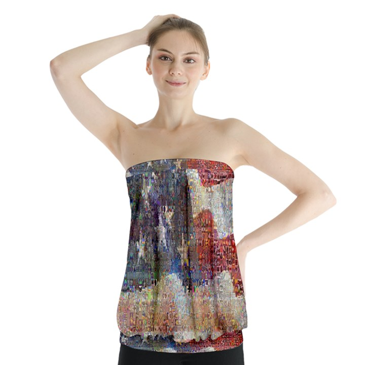 Grunge United State Of Art Flag Strapless Top