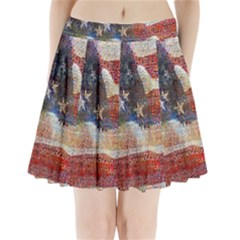 Grunge United State Of Art Flag Pleated Mini Skirt