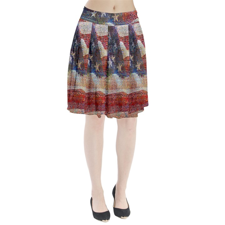 Grunge United State Of Art Flag Pleated Skirt